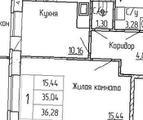 1-комнатная квартира, 36 кв.м., 8/13 этаж, новостройка